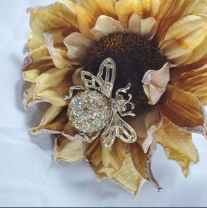 RJ  Graziano bee brooch pin crystals gold tone
